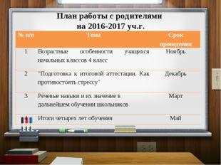 План работы с родителями на 2016-2017 уч.г. № п/пТемаСрок проведения 1Возр