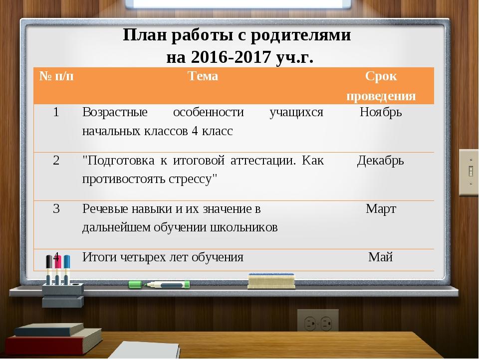 План работы с родителями на 2016-2017 уч.г. № п/пТемаСрок проведения 1Возр...