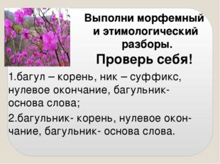 Выполни морфемный и этимологический разборы. Проверь себя! 2.багульник- корен
