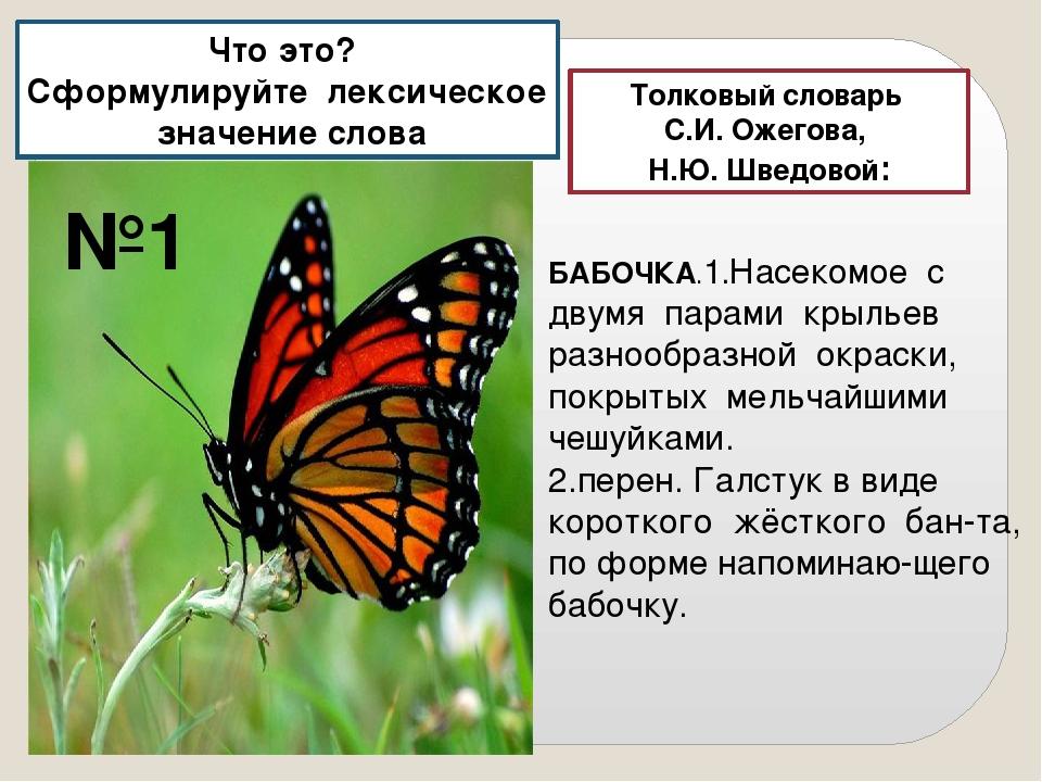 Толковый словарь С.И. Ожегова, Н.Ю. Шведовой: БАБОЧКА.1.Насекомое с двумя пар...