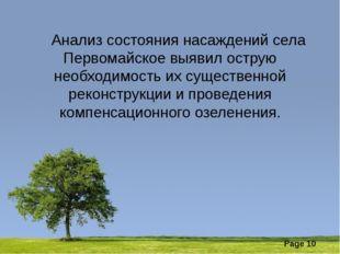 Анализ состояния насаждений села Первомайское выявил острую необходимость их