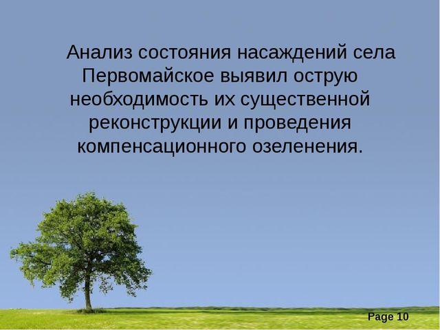 Анализ состояния насаждений села Первомайское выявил острую необходимость их...