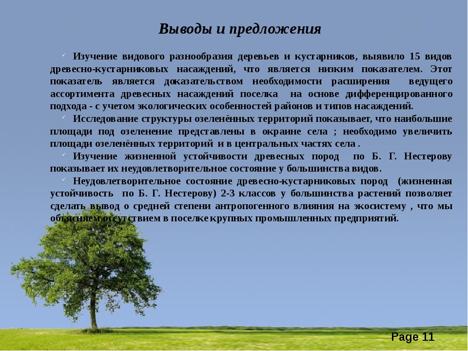 Выводы и предложения Изучение видового разнообразия деревьев и кустарников,...