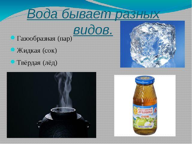 Вода бывает разных видов. Газообразная (пар) Жидкая (сок) Твёрдая (лёд)