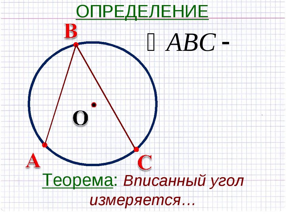 ОПРЕДЕЛЕНИЕ Теорема: Вписанный угол измеряется…