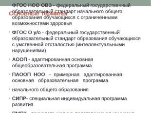 Основные термины ФГОС НОО ОВЗ - федеральный государственный образовательный с