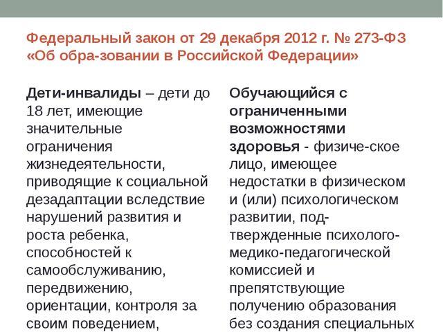 Федеральный закон от 29 декабря 2012 г. № 273-ФЗ «Об образовании в Российско...