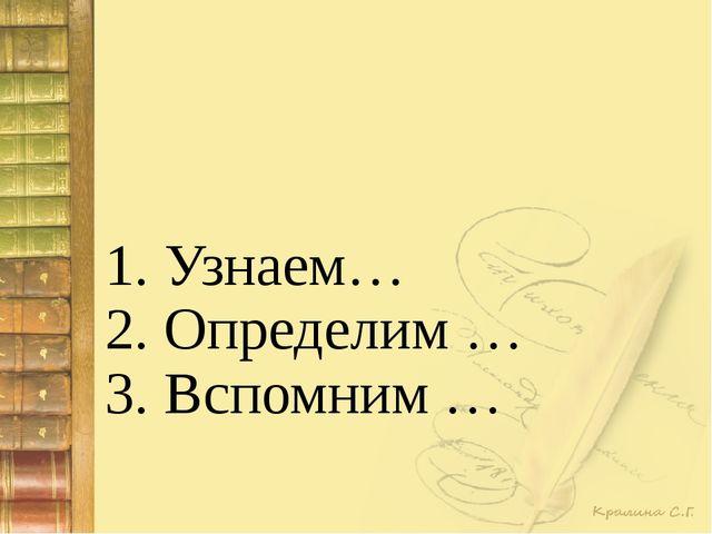 1. Узнаем… 2. Определим … 3. Вспомним …