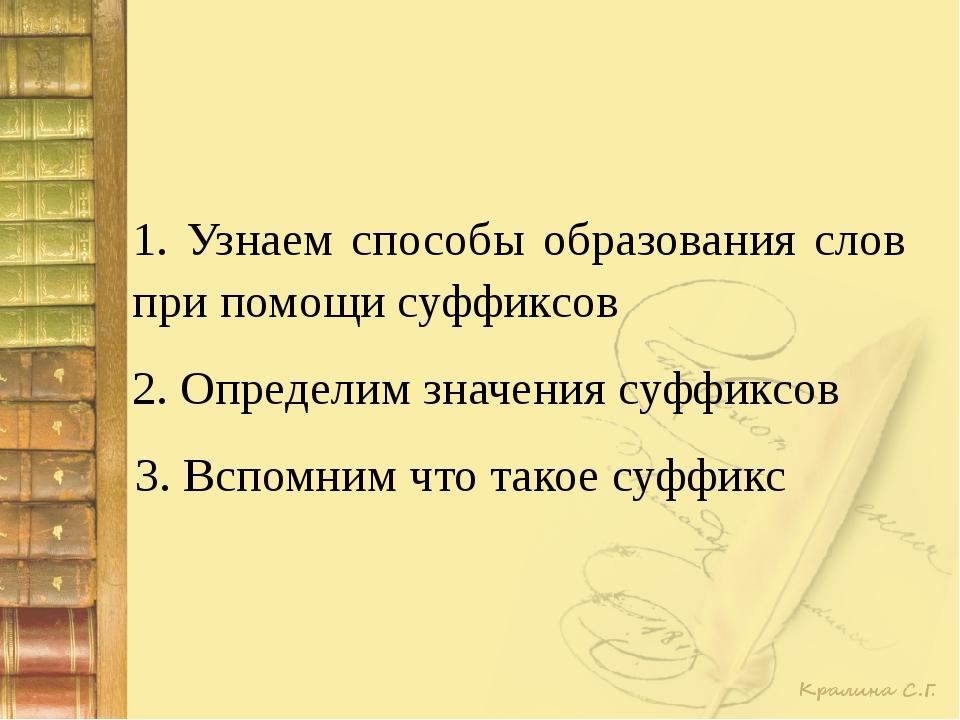 1. Узнаем способы образования слов при помощи суффиксов 2. Определим значения...