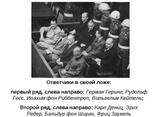 Ответчики в своей ложе: первый ряд, слева направо:Герман Геринг,Рудольф Гес