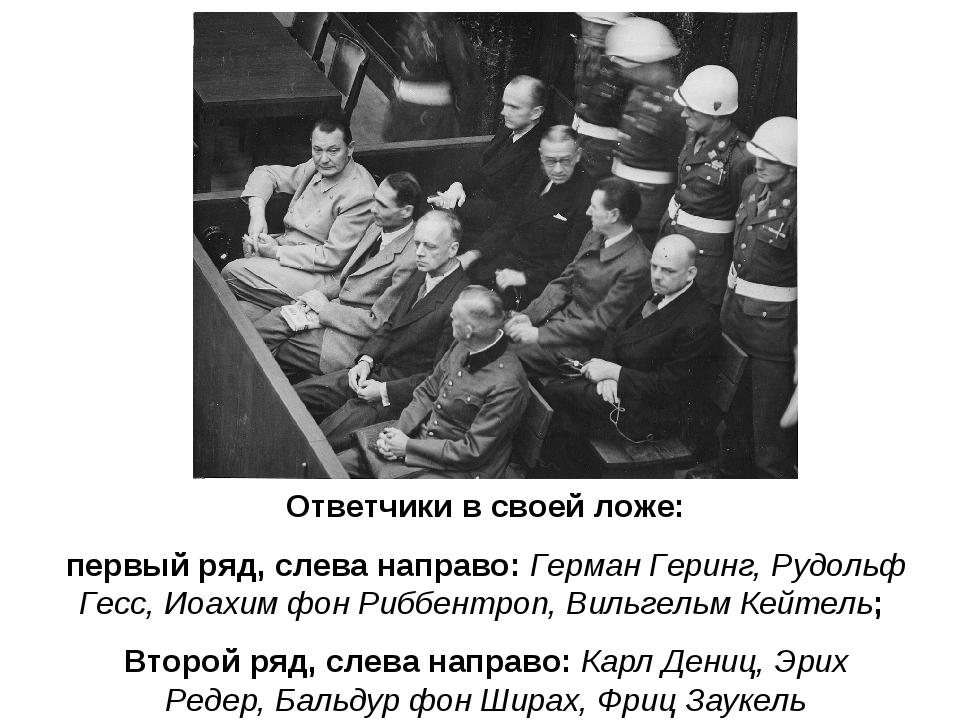 Ответчики в своей ложе: первый ряд, слева направо:Герман Геринг,Рудольф Гес...