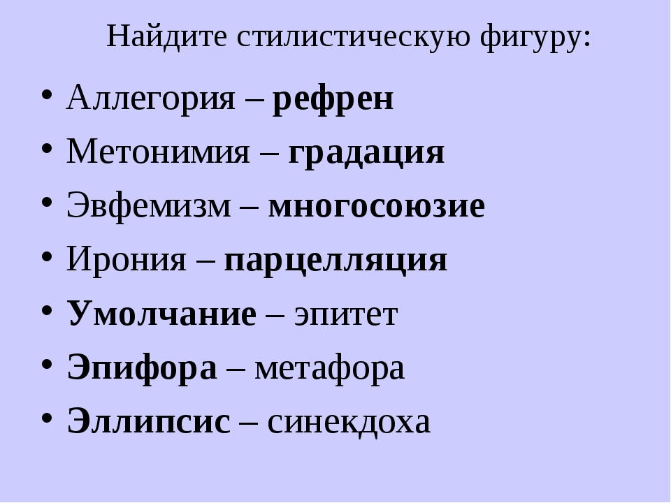 Найдите стилистическую фигуру: Аллегория – рефрен Метонимия – градация Эвфеми...