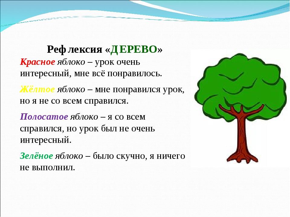 Рефлексия «ДЕРЕВО» Красное яблоко – урок очень интересный, мне всё понравилос...