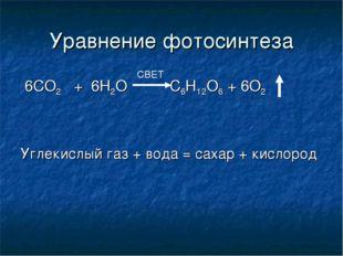 Уравнение фотосинтеза 6СО2 + 6Н2О С6Н12О6 + 6О2 Углекислый газ + вода = сахар