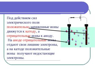 Под действием сил электрического поля положительно заряженные ионы движутся к