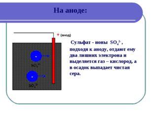 На аноде: + (анод) - - Сульфат - ионы SO42- , подходя к аноду, отдают ему два