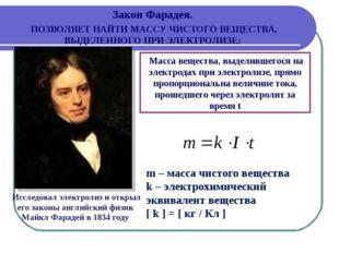 Исследовал электролиз и открыл его законы английский физик Майкл Фарадей в 1