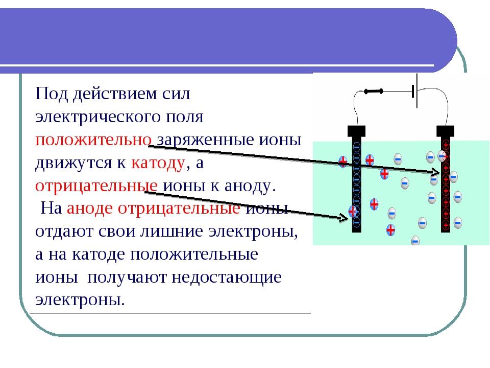 Под действием сил электрического поля положительно заряженные ионы движутся к...
