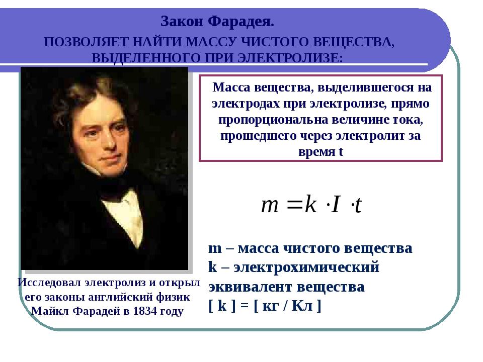Исследовал электролиз и открыл его законы английский физик Майкл Фарадей в 1...