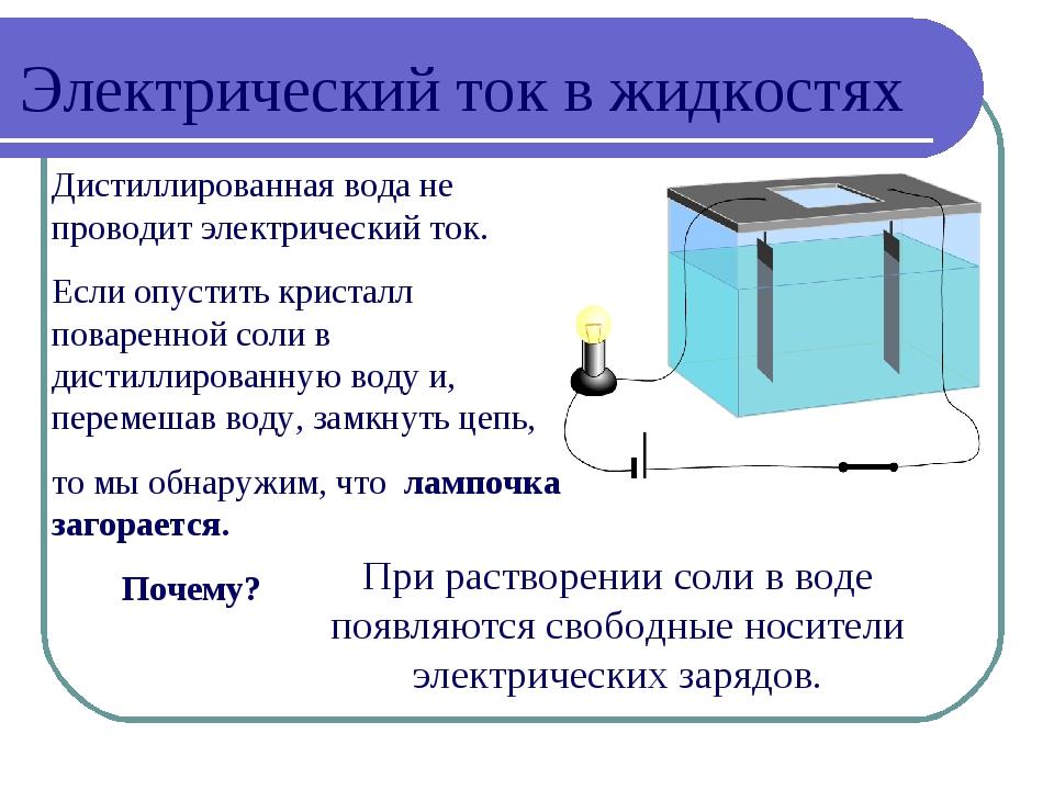 Дистиллированная вода не проводит электрический ток. Если опустить кристалл п...