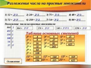 1) 12 = _________ 2) 24 = _________ 3) 75 = __________ 4) 48 = ______ 5) 72 =