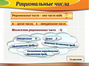 т – целое число; п – натуральное число Множество рациональных чисел - Q Оглав