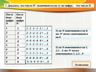 7. Доказать, что число N5 оканчивается на ту же цифру, что число N. 1 · 1 · 1