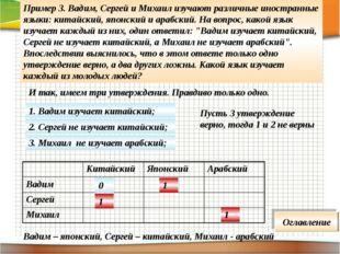 Пример 3. Вадим, Сергей и Михаил изучают различные иностранные языки: китайск
