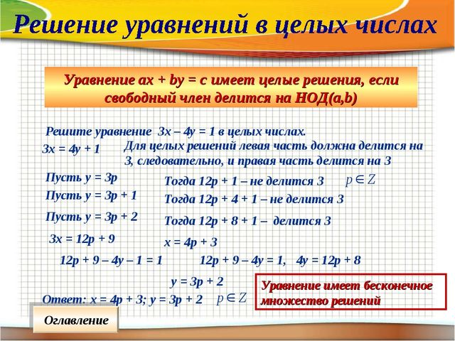 Уравнение ах + bу = с имеет целые решения, если свободный член делится на НОД...