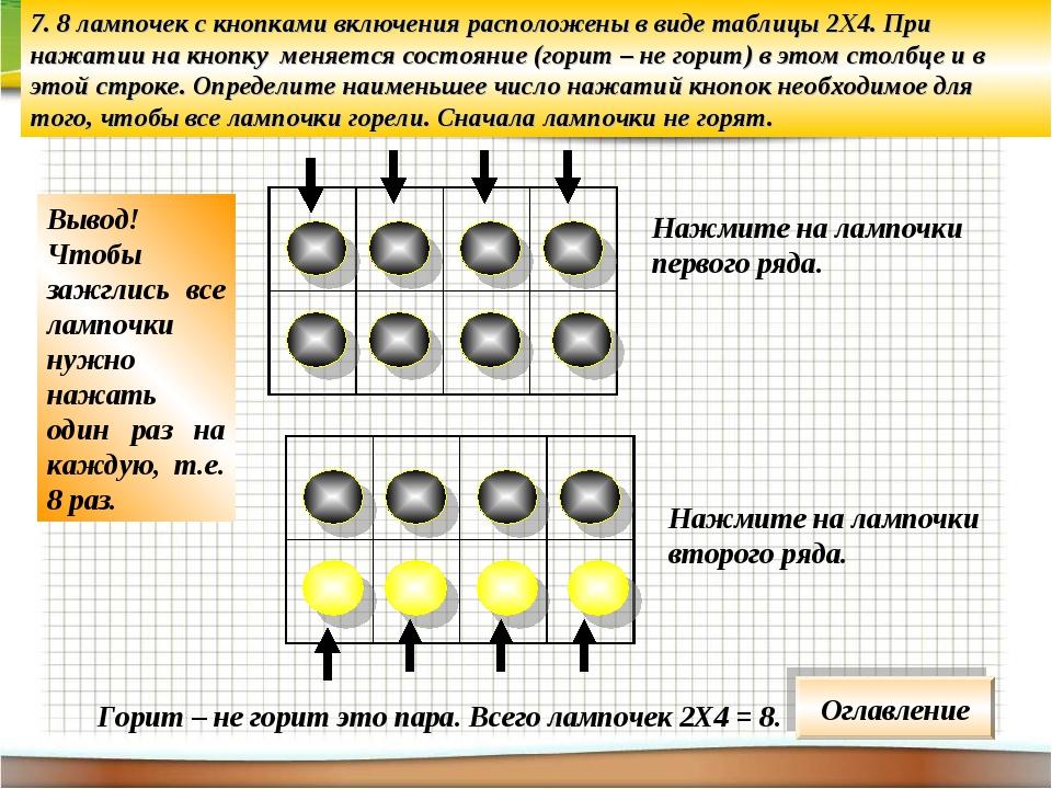 7. 8 лампочек с кнопками включения расположены в виде таблицы 2Х4. При нажати...