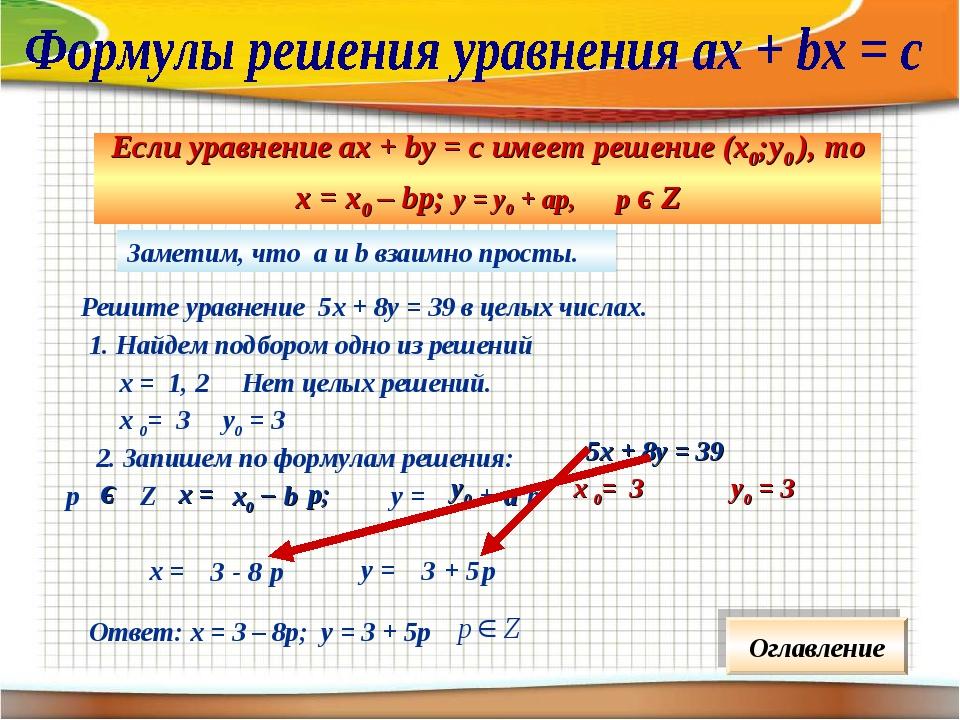 Заметим, что а и b взаимно просты. Решите уравнение 5х + 8у = 39 в целых числ...