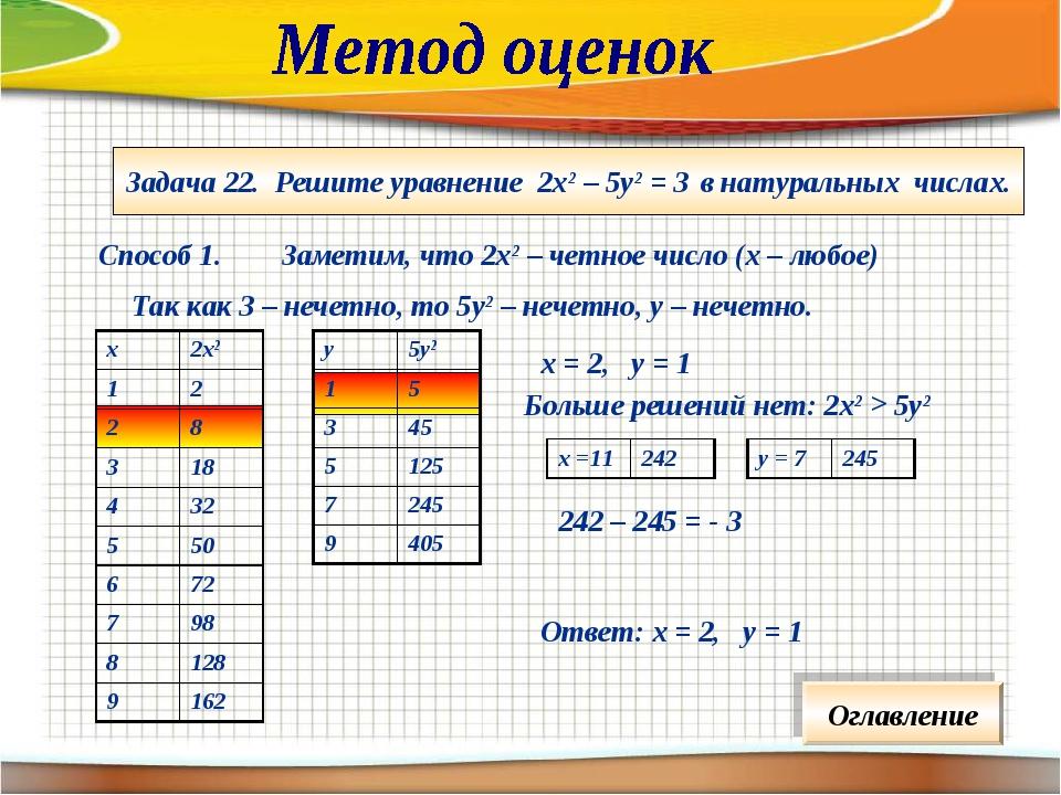 Задача 22. Решите уравнение 2х2 – 5у2 = 3 в натуральных числах. Способ 1. Зам...