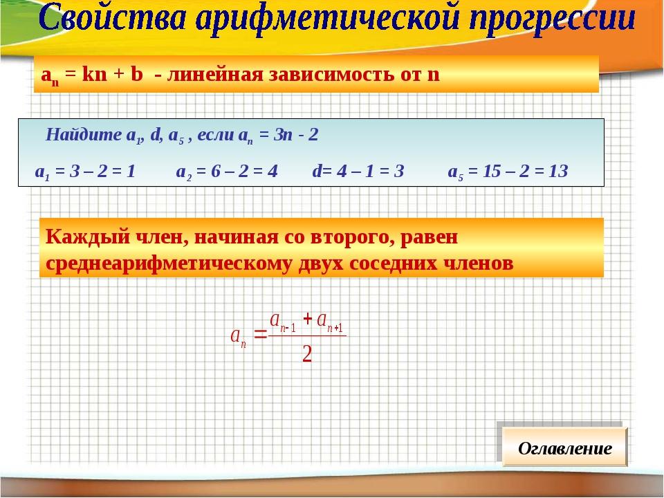 аn = kn + b - линейная зависимость от n Каждый член, начиная со второго, раве...