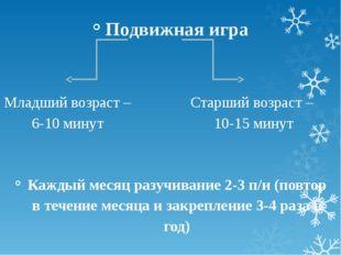 Подвижная игра Каждый месяц разучивание 2-3 п/и (повтор в течение месяца и за