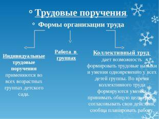 Трудовые поручения. Формы организации труда Индивидуальные трудовые поручения