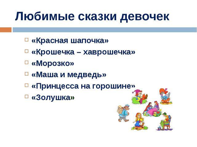 Любимые сказки девочек «Красная шапочка» «Крошечка – хаврошечка» «Морозко» «М...