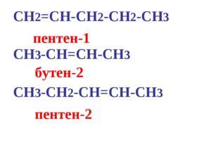 CH2=CH-CH2-CH2-CH3 CH3-CH=CH-CH3 CH3-CH2-CH=CH-CH3 пентен-2 бутен-2 пентен-1