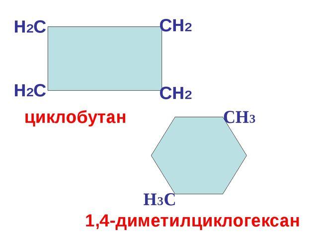 CH2 CH2 H2С H2С циклобутан H3С CH3 1,4-диметилциклогексан