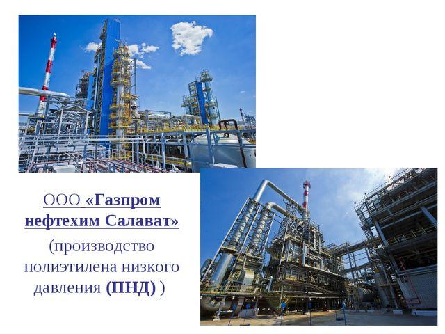 ООО«Газпром нефтехим Салават» (производство полиэтилена низкого давления (ПН...