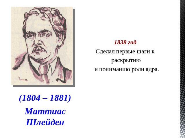 1838 год Сделал первые шаги к раскрытию и пониманию роли ядра. (1804 – 1881)...