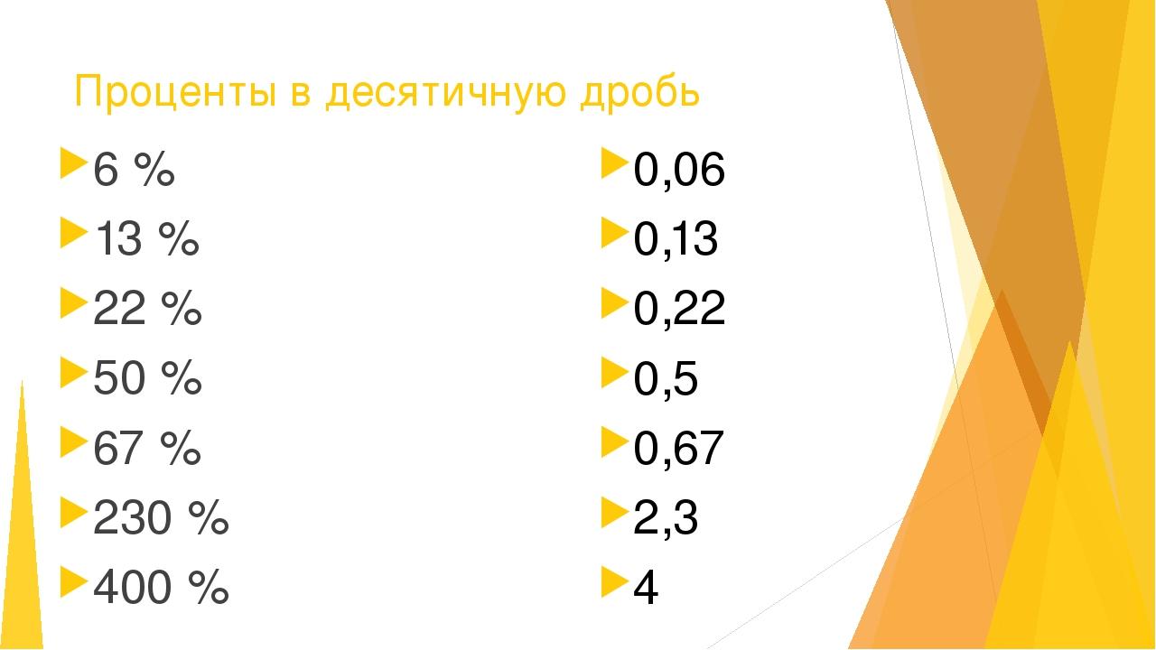 Проценты в десятичную дробь 6 % 13 % 22 % 50 % 67 % 230 % 400 % 0,06 0,13 0,2...