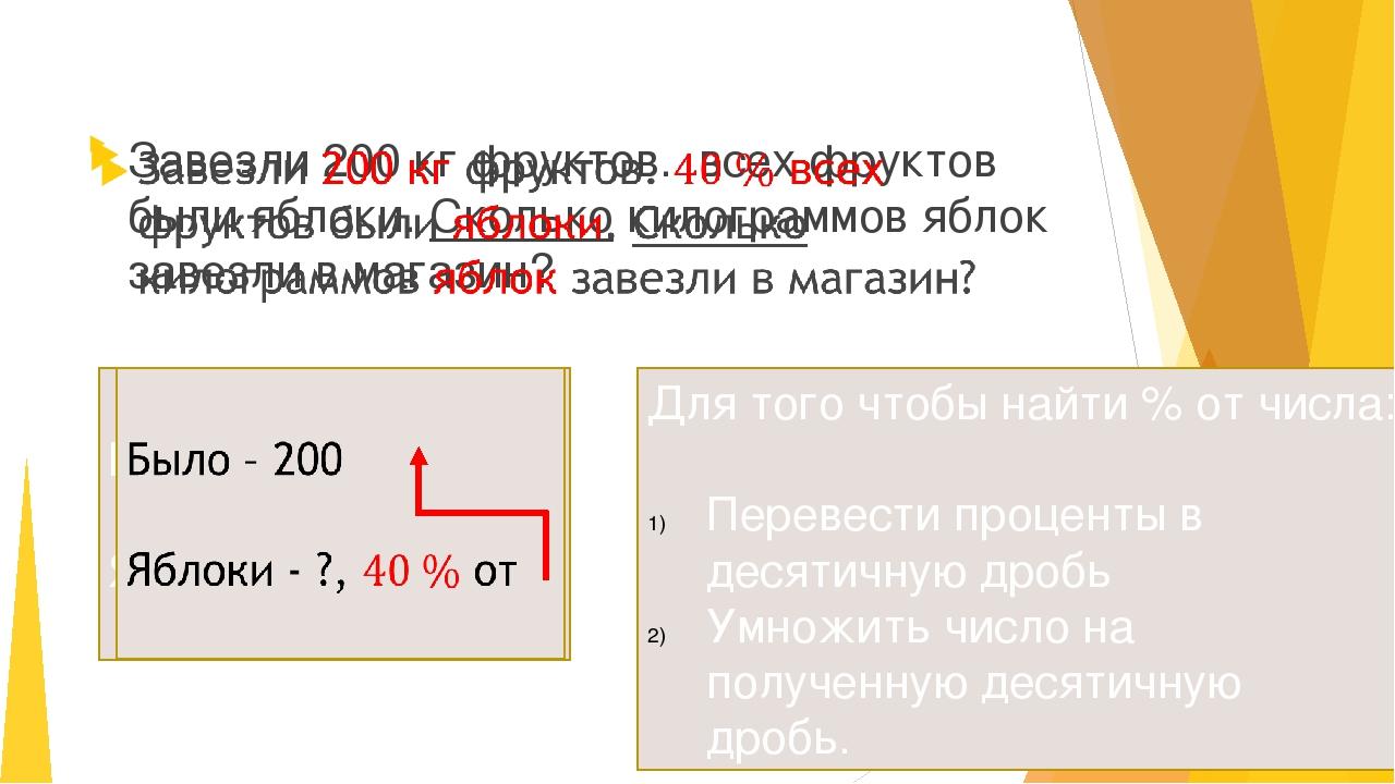 Для того чтобы найти % от числа: Перевести проценты в десятичную дробь Умнож...
