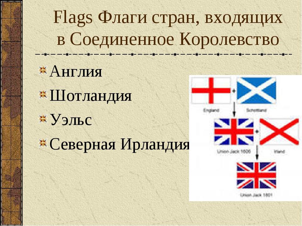 Flags Флаги стран, входящих в Соединенное Королевство Англия Шотландия Уэльс...