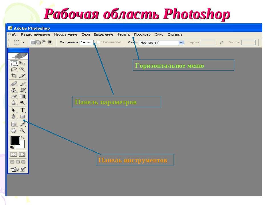 Рабочая область Photoshop Горизонтальное меню Панель параметров Панель инстру...