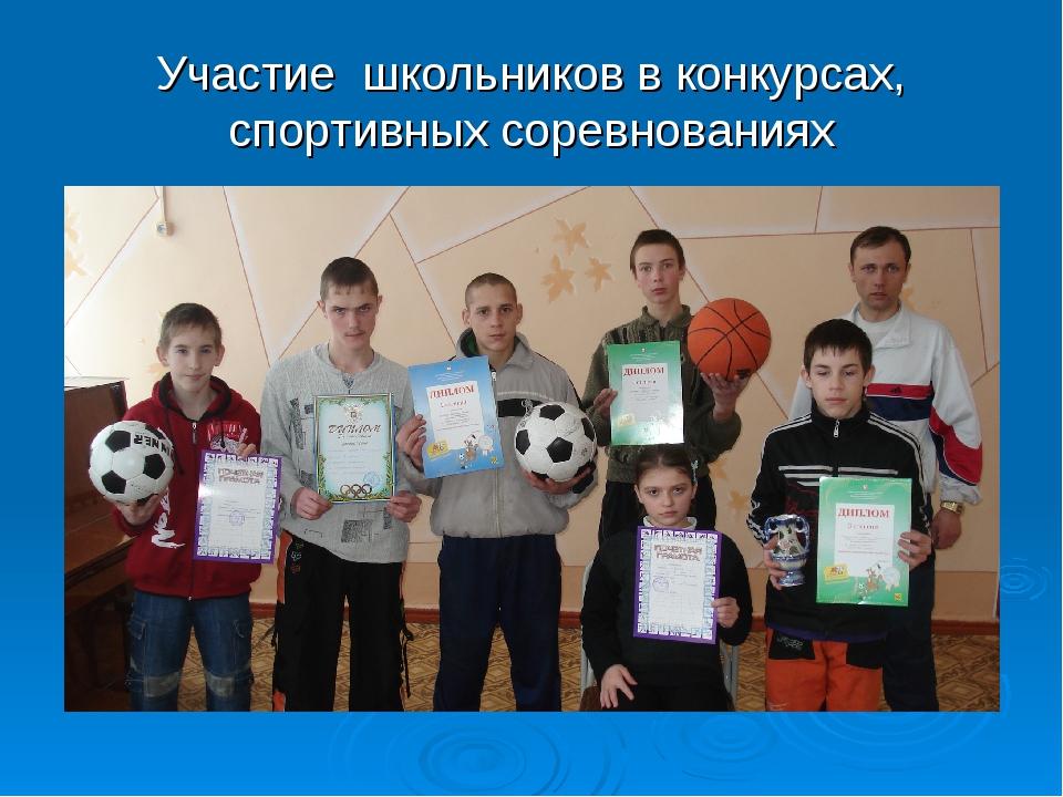 Участие школьников в конкурсах, спортивных соревнованиях