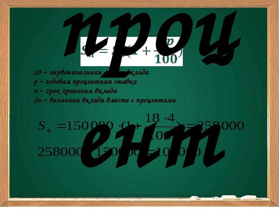 S0 – первоначальная сумма вклада p – годовая процентная ставка n – срок хран...