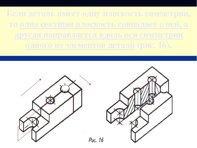 Если деталь имеет одну плоскость симметрии, то одна секущая плоскость совпада...