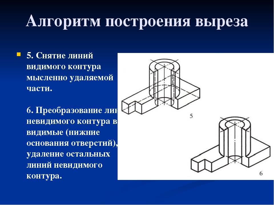Алгоритм построения выреза 5. Снятие линий видимого контура мысленно удаляемо...