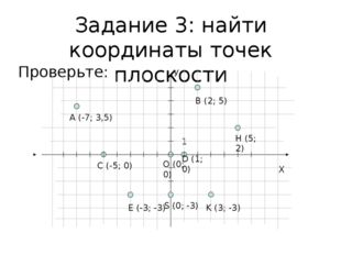 Задание 3: найти координаты точек плоскости Проверьте: Х О (0; 0) У 1 А (-7;