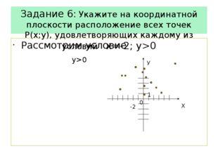 Задание 6: Укажите на координатной плоскости расположение всех точек Р(х;у),